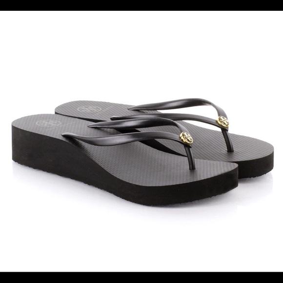 1387eec797bd1 Tory Burch Black Wedge Flip Flops